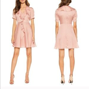 NEW Bardot Foaty Frill Pink Dress Short Sleeve 8